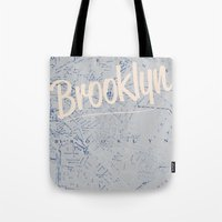 brooklyn Tote Bags featuring Brooklyn by Dweezle