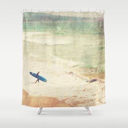 Margin Walker. surfer photograph Hermosa Beach Shower Curtain