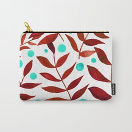 Watercolor berries and branches - red and turquoise Carry-All Pouch