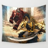 beast Wall Tapestries featuring Knight - Beast by Foxxya