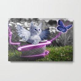 Cute Kitty with Angels Wings Metal Print