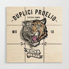 DUPLICI PROELIO Tiger by leo Tezcucano Wood Wall Art