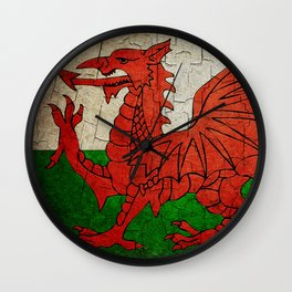 Vintage Wales flag Wall Clock