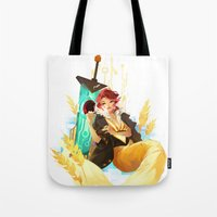transistor Tote Bags featuring See You in the Country - Transistor by Stephanie Kao