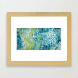 Blue, Green & Grey Acrylic Pour Framed Art Print