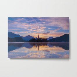 Sunrise colors and reflection at lake Bled and charming little church on the island Metal Print
