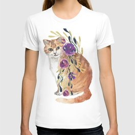 cat with flower boa T-shirt