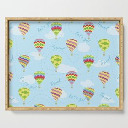 Let's Go Travel Hot Air Balloons Pattern Serving Tray
