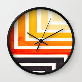 Orange Mid Century Modern Watercolor Colorful Ancient Aztec Art Pattern Minimalist Geometric Pattern Wall Clock