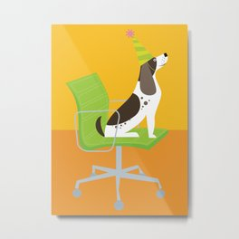 Dog on an Eames Chair for Handsome Devil Press Metal Print