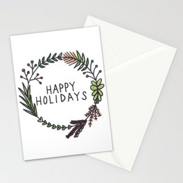 Happy Holidays Wreath Stationery Cards