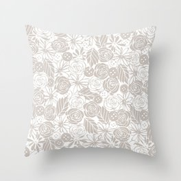 buttons and blooms Throw Pillow