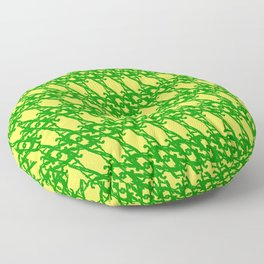 Braided diagonal pattern of wire and green arrows on a yellow background. Floor Pillow