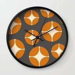 Minimal Abstract Vintage Cream Orange Grey 13 Wall Clock