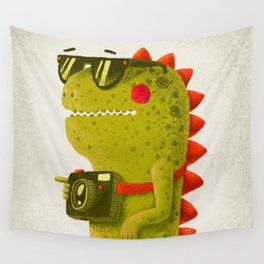 Dino touristo (olive) Wall Tapestry