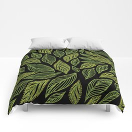 Yellow Green Gold Black Leaves Pattern Comforters