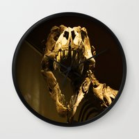 t rex Wall Clocks featuring T-Rex by Vito Fabrizio Brugnola