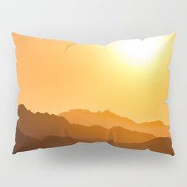 Orange Monochromatic Mountain Landscape Parallax Silhouette Yellow Orange Sunset Hues Pillow Sham