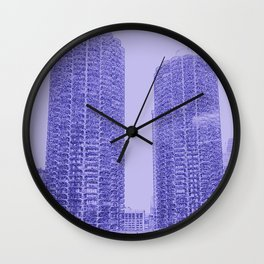 Marina Towers - Chicago - Purple Wall Clock