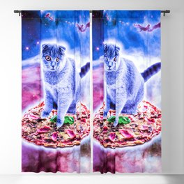 Galaxy Kitty Cat Riding Pizza In Space Blackout Curtain