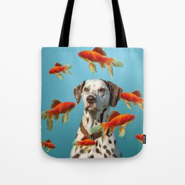 Dalmatian Dog with goldfishes Tote Bag