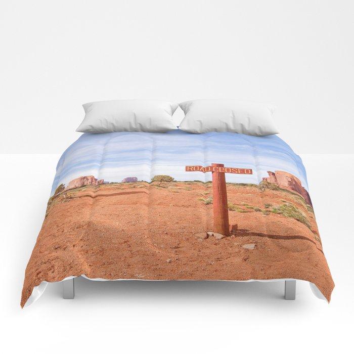 Road closed desert Comforters