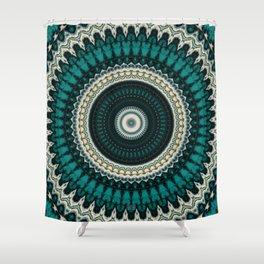 Mandala Fractal in Teal Study 01 Shower Curtain