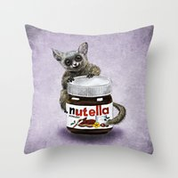 nutella Throw Pillows featuring Sweet aim // galago and nutella by Anna Shell