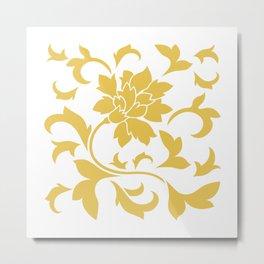 Oriental Flower - Mustard Yellow On White Background Metal Print