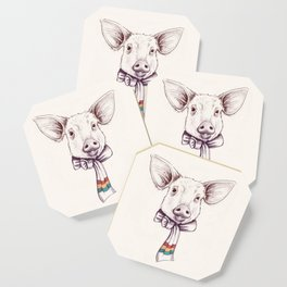 Pig and scarf Coaster