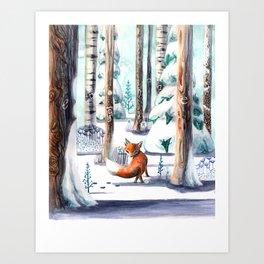 Fox Explore Art Print
