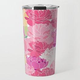 Bunch of Colorful Peonies Flowers Pattern Travel Mug