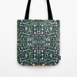 Green and White Hand Painted Bohemian Flower Design Tote Bag