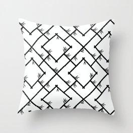 Bamboo Chinoiserie Lattice in White + Black Throw Pillow
