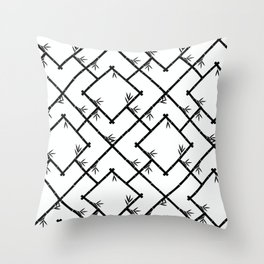 Bamboo Chinoiserie Lattice in White + Black Throw Pillow