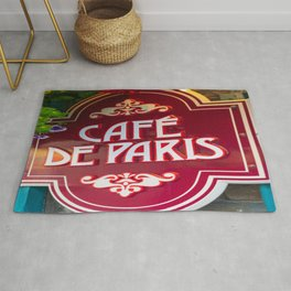 Quebec City French Cafe Print Rug