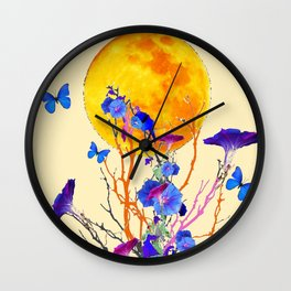 BLUE BUTTERFLIES MORNING GLORY  FULL MOON ART Wall Clock