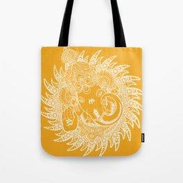 Ganesha Lineart Yellow White Tote Bag