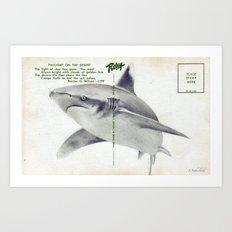 Postcard Shark Art Print