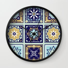 Talavera Mexican Tile – Mint & Navy Palette Wall Clock