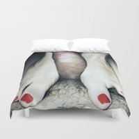 penis Duvet Covers featuring funny painting BDSM foot fetish toes job sex fuck feet footjob kinky dick cock penis dominatrix  by Velveteen Rodent