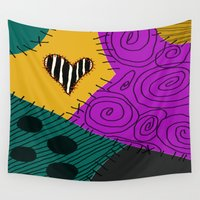 nightmare before christmas Wall Tapestries featuring Sally - Nightmare Before Christmas by Lea Bostwick