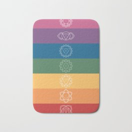 Seven Chakra Mandalas on a Striped Rainbow Color Background Bath Mat
