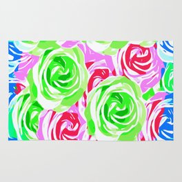 colorful rose pattern abstract in pink blue green Rug