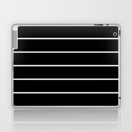 Black White Pinstripes Minimalist Laptop & iPad Skin