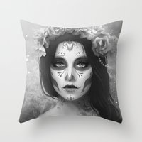 day of the dead Throw Pillows featuring Day of the Dead by Nicolas Jamonneau