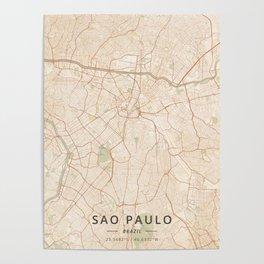 Sao Paulo, Brazil - Vintage Map Poster