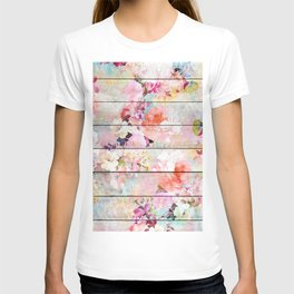 Summer pastel pink purple floral watercolor rustic striped wood pattern T-shirt