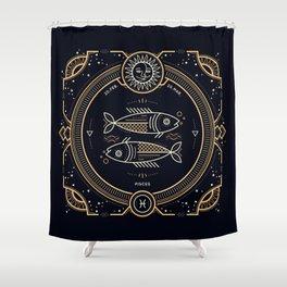 Pisces Zodiac Golden White on Black Background Shower Curtain
