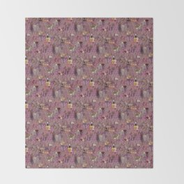 Wine and Cheese Pattern Print Throw Blanket